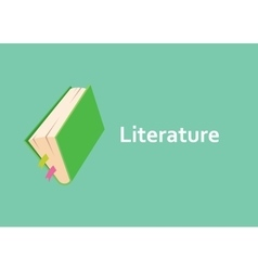 literature books with green cover style with text vector image