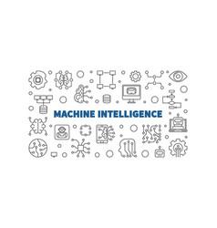 Machine intelligence outline horizontal vector