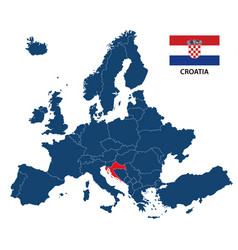 map of europe with highlighted croatia vector image