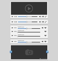 media elements set white vector image