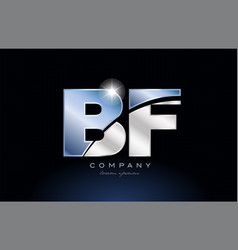 Metal blue alphabet letter bf b f logo company vector