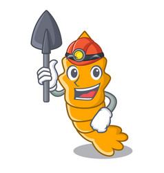 Miner cooked shrimps isolated on mascot cartoon vector