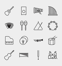 Music instrument icons outline vector image