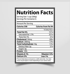 Nutrition facts piece paper vector