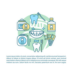 Oral hygiene article page template vector