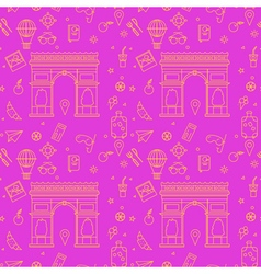 Paris Seamless Pattern with Arc de Triompe vector image