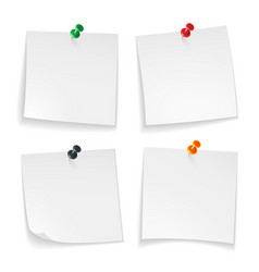 pin notes white note papers curled corner with vector image