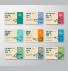 premium quality fish labels collection abstract vector image