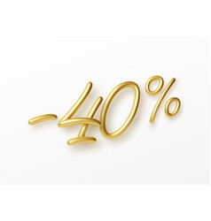 realistic golden text 40 percent discount number vector image