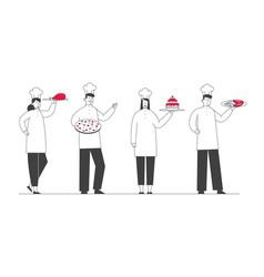 restaurant staff in uniform demonstrating cafe vector image