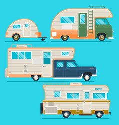 retro camper trailer collectionset of recolored vector image