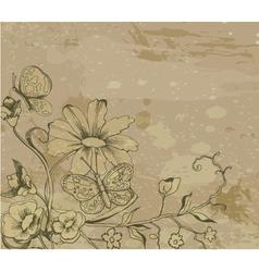 retro grunge floral background vector image