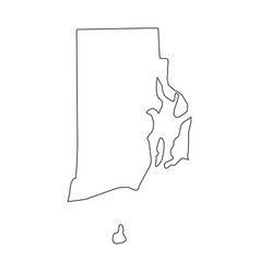 Rhode island state of usa - solid black outline vector