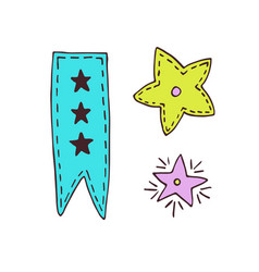 ribbon and stars decoration hand drawn vector image