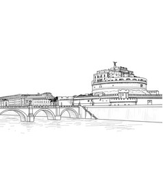 rome cityscape with castel santangelo italian vector image