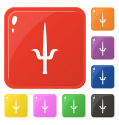 Sai weapon icons set 8 colors isolated on white vector