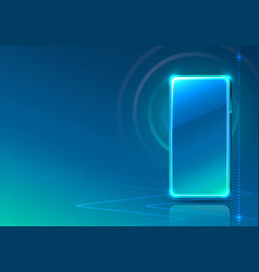 screen phone neon icon app modern blue background vector image