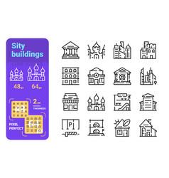 set city buildings simple lines icons municipal vector image