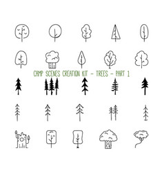 set linear icons trees part 1 vector image