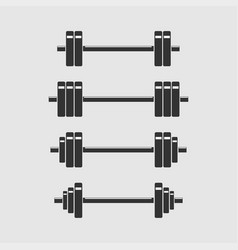 set of barbells for gym fitness vector image