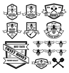 set of vintage honey labels template bee icons vector image