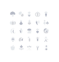 set simple icons vegetables vector image