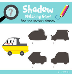 Shadow matching game amphibious vehicle side view vector