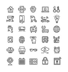 Smart home signs black thin line icon set vector