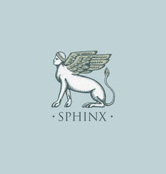 Sphinx logo ancient greece antique symbol vintage vector
