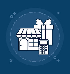Store and gift box vector