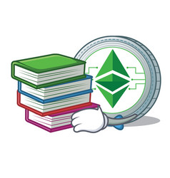 student with book ethereum classic character vector image