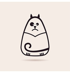 Symbol funny cat stylized drawing silhouette vector