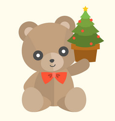 teddy bear with present set 2 vector image