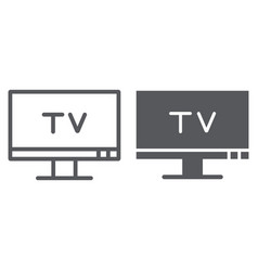 tv line and glyph icon screen and display vector image