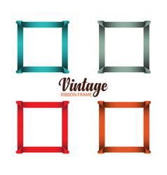 Vintage ribbon frame template design vector