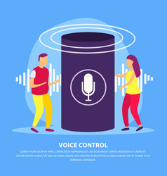 Voice control flat background vector