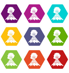 volcano erupting icon set color hexahedron vector image