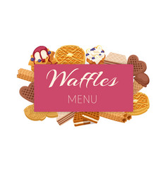 Waffle menu with ice cream and berries vector