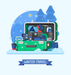 winter travel suitcase fully stuffed vector image