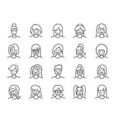 Woman avatar line icon set vector