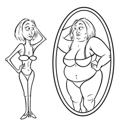 woman mirror anorexia vector image