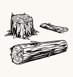 Wood logs and stump concept vector