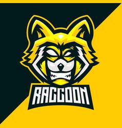Yellow raccoon head e sports team logo vector