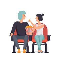 young couple in love watching movie in cinema vector image