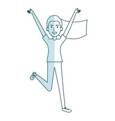 Young woman celebrating with hands up vector