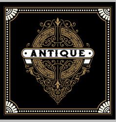 antique logo with baroque ornaments vector image