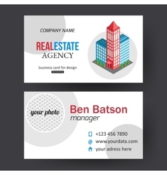 Flat isometric city real estate business card vector image