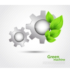 Gear with leaves vector image vector image