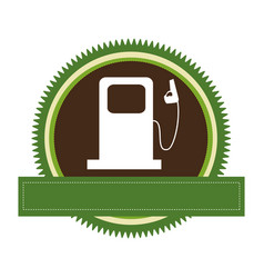 green circular frame with bio fuel station and vector image