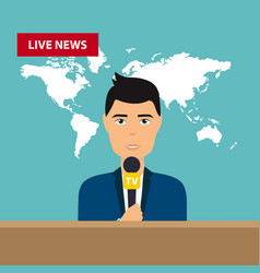 Male tv presenters sit at the table live news vector